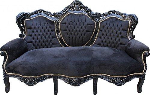 Casa Padrino Barock Sofa King Schwarz / Schwarz - Wohnzimmer Couch