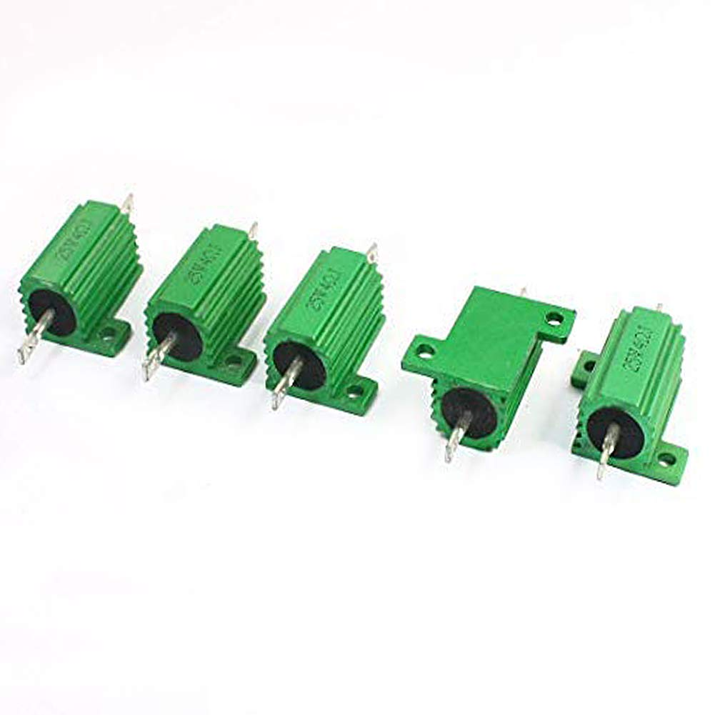 Yohii 5 Pcs Green 25W 4 Ohm 5/% Wirewound Aluminum Case Resistors