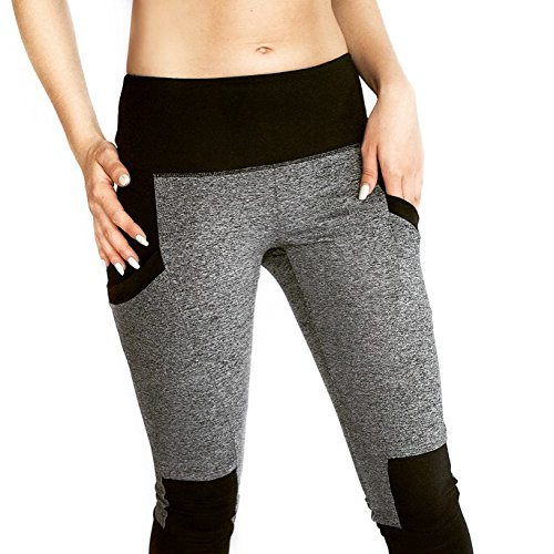 Elan Array High Waisted Leggings With Pockets. Womens Leggings With Black And Gray Design.,Small