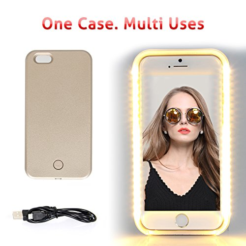 iPhone 6 6s Plus LED Lighting Selfie Case, Walnut LED Night Light Cover for Selfies/Make-Up/Flashlight/Videos/Facetime, Protects Phone & includes Charger For iPhone 6/6S Plus-Rose Gold (Crazy Iphone 5 Charger)