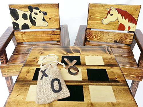 - Kids Wood Table and Chair Set, Indoor / Outdoor Heirloom Furniture, Toddler +, Tic Tac Toe Game, Engraved & Painted Horse and Holstein Cow