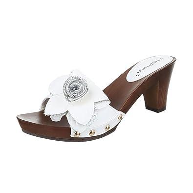 b4af455ad1ed73 Ital-Design Pantoletten Damen Schuhe Jazz   Modern Pump Nieten Besetzte  Sandalen Sandaletten Weiß