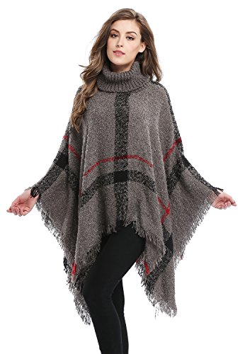 Plaid Poncho (Bellady Ponchos For Women Girls Knitted Pullover Tassel Sweater Poncho Shawl, Grey)