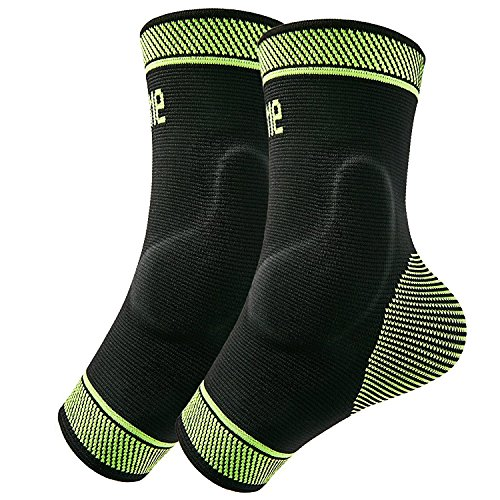 Protle Adjustable Foot Socks, Ankle Brace Compression Support Sleeve with Silicone Gel, Arch Support – Boosts Recovery from Joint Pain, Sprain, Plantar Fasciitis (Pair, Large)