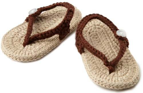 Jefferies Socks Unisex-Baby Newborn My First Flip Flops, Chocolate/Khaki, Newborn