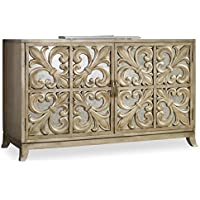 Hooker Furniture 638-85057 Melange Fleur-De-Lis Mirrored Credenza, Metallic