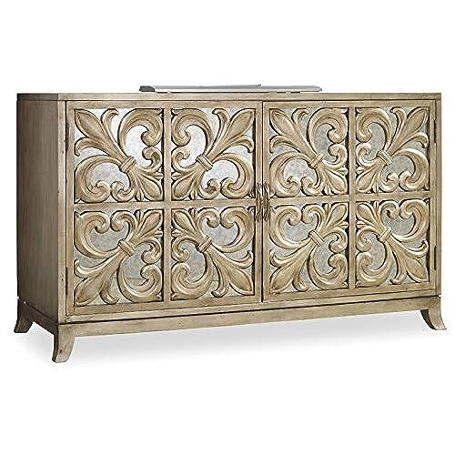 Hooker Furniture 638 85057 Melange Fleur De Lis Mirrored Credenza, Metallic