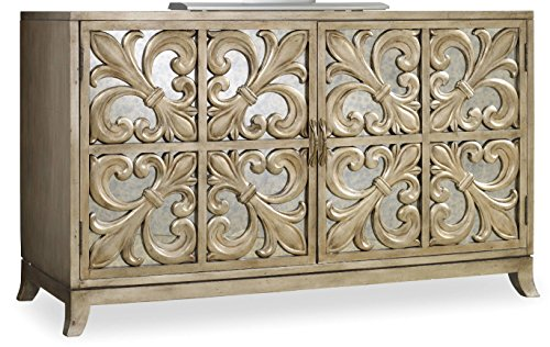 Hooker Furniture 638-85057 Melange Fleur-De-Lis Mirrored Credenza, Metallic (Mirrored Sideboards Buffets)