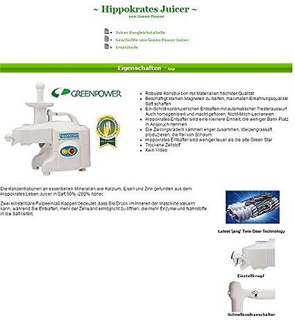 Greenpower Hippocrates GPT-1305 Plus - Extractor de zumos Slow Juicer de 2 ejes (doble rodillo), Exprimidor lento. Zumo Vivo 72 horas. 12 años de ...