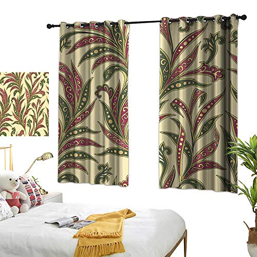 Personality creative bedroom 90% blackout curtains Floral leaf seamless pattern Abstract branch with leaves ornamental wallpaper Arabic style leaf background Polyester does not fade, durable and not e