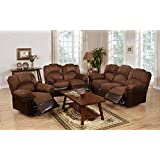 3Pcs Modern Chocolate Plush Microfiber Recliner Sofa Loveseat Glider Recliner Set for Living Room