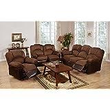 3Pcs Modern Chocolate Plush Microfiber Recliner Sofa Loveseat Glider Recliner Set for Living Room