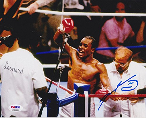 - Signed Sugar Ray Leonard Photograph - 8x10 Celebration COA - PSA/DNA Certified - Autographed Boxing Photos