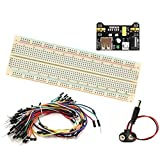 (1 set) 830 tie point Solderless Breadboard, 65 jumper wires, power supply, and 9V snap connector