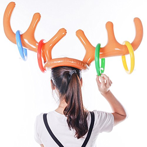da42636d6ba0b GUCHIS Children Interactive Toys Christmas Headdress Cap Ring Toss Game  Reindeer Antler Inflatable Toys for Summer