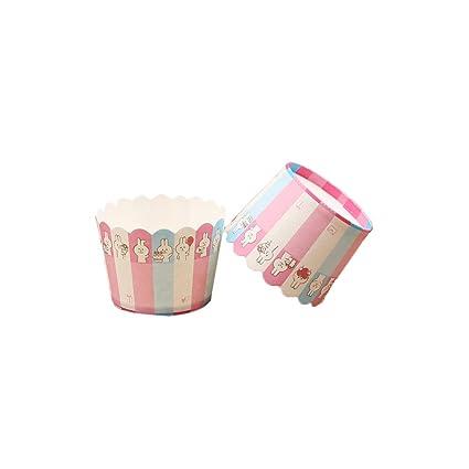 China Show 150 Unidades hitzebeständige Cupcake Wrapper Bonito Conejo Imprimir Moldes para Cupcakes y Multicolor Rayas