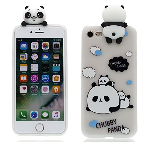 iPhone 6 6s Case, CHUBBY PANDA attach small panda Design, Cute Lovely Fun TPU Silicone Phone Case for Apple iPhone 6 6s 4.7 inch + BC cloth+ stylus pen -