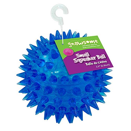 "Gnawsome 2.5"" Spiky Squeaker Ball Dog Toy – Small, Cleans teeth and Promotes Dental and Gum Health for Your Pet, Colors…"