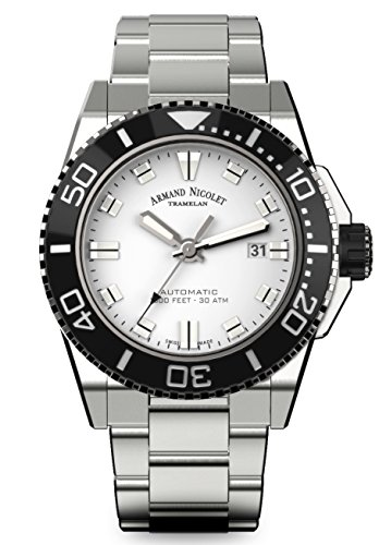 Armand Nicolet Men's Diver Automatic Watch with Stainless Steel Bracelet A480AGN-AG-MA4480AA