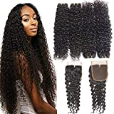 4 Bundles Water Wave Bundles with Closure (24 26 28 30+20inch,Middle Part) RESACA 10A Grade Brazilian Human Hair Bundles with Closure Wet and Wavy Human Hair Extension
