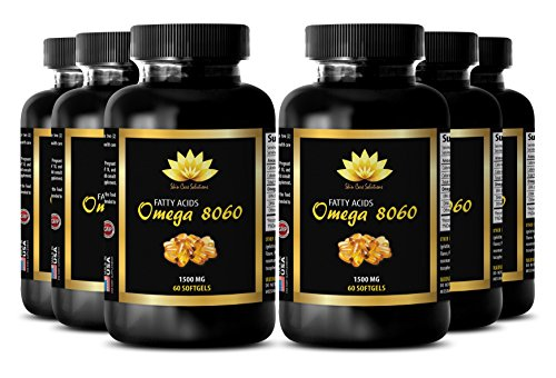 Fish oil omega - OMEGA 8060 Fatty Acids 1500mg - Increase endurance - 6 Bottles 360 softgels by SKIN CARE SOLUTIONS