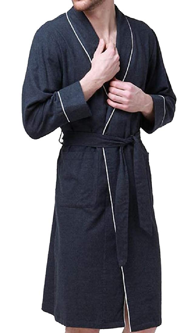 Tootless-Men Plus-Size Flannel Knee Length Knit Robe with Pockets