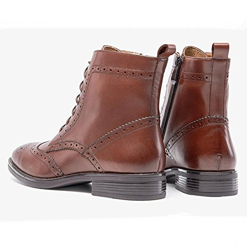 wdjjjnnnv Ladies Ankle Boots Hollow Leather Lined Flat Harness Warm Casual Comfort shoelace Shoes BROWN-35 IPfzFRof
