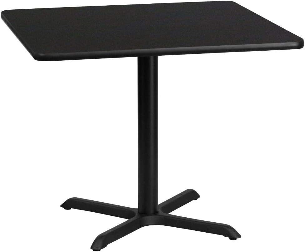 Flash Furniture 36'' Square Black Laminate Table Top with 30'' x 30'' Table Height Base