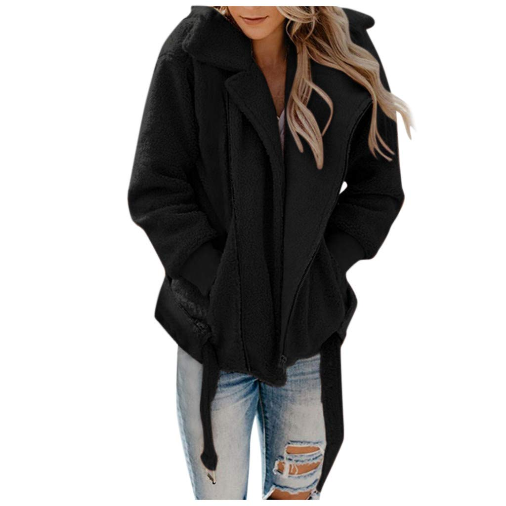 Dermanony Women's Fashion Long Sleeve Lapel Zip Up Faux Fur Shearling Fuzzy Fleece Coat Jacket with Pockets Warm Winter Black by Dermanony _Coat