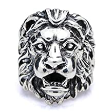 Bishilin Rings for Men Silver Plated Lion Head Partner Rings Silver