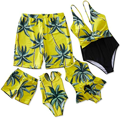 (Yaffi Family Matching Swimwear One Piece V Neck Swimsuits 2019 Newest Bathing Suits Coconut Tree Printed Beach Wear Boys: 3-4 Years Yellow)