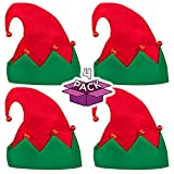 LED Light Up Festive Christmas Santa Elf Hat - Family 4 Pack