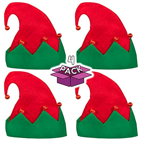 Colorful Santa Hats (LED Light Up Festive Christmas Santa Elf Hat - Family 4)