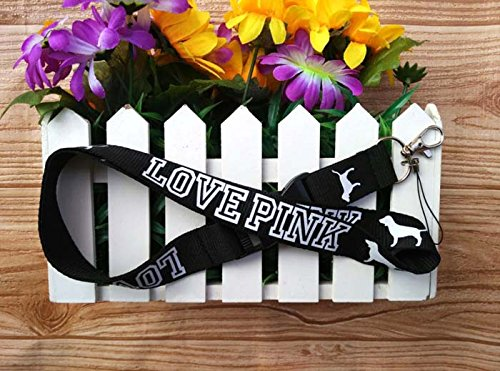VICTORIA'S SECRET LOVE PINK LANYARD KEY CHAIN TEAL BLUE&WHITE LOGO HOLDER WITH DOGS BY MACKENZIE STORE (BLACK LOVE PINK)