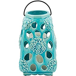 Elements Ceramic Floral Lantern, Teal, 10-Inch