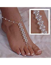 Black Menba Pearl Barefoot Sandals Beach Wedding Foot Jewellery Anklet Ankle Bridal Bracele2PCS(1 Pair)