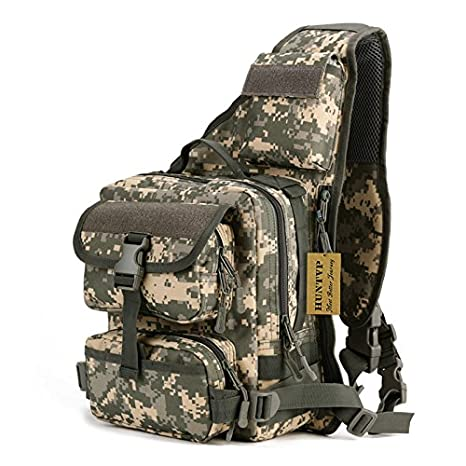 d3886efd9f52 Image Unavailable. Image not available for. Color  Huntvp Tactical Military  Daypack Sling Chest Pack Bag Molle Backpack Large ...