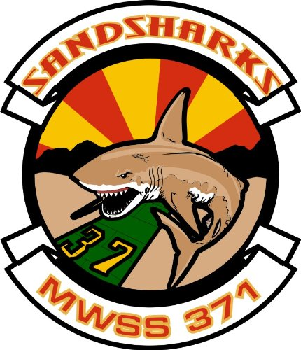 MilitaryBest US Marine Wing Support Squadron MWSS 371 Sandsharks Decal Sticker 5.5