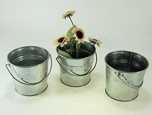 Galvanized Buckets w/ Ridges and Handles 3 Pc Set 1quart Pail Planter (Flower Pail)