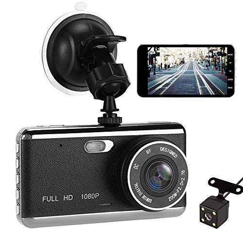 Cheap Dash Cam, VIKASI 1080P Front and Rear Dual Dash Camera with Full HD 4″ LCD Screen, 170° Wide Angle Lens Dashboard Camera with G-Sensor, Loop Recording, Rear View and Motion Detection