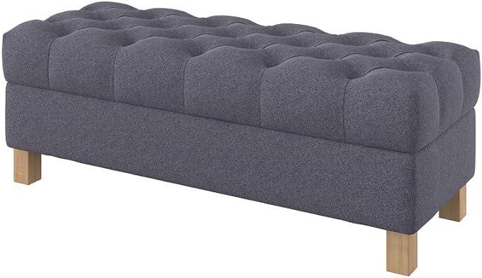 Furninero 120 cm breit, tiefer gepolsterter Sitzbank Sitzhocker Sitzruhe Betthocker Ottomane mit Stauraum quadratische Beine, Nordic Anthracite