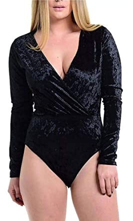 828af89408 Top Fashion18 Ladies Womens Long Sleeve Velvet V Neck Wrap Over Leotard  Bodysuit Thong Velour Top
