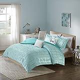 Teen Bedding for Girls Comforter Set Full Queen King Twin Aqua Blue Silver Metallic Print Dorm Room Bedspread Bundle Includes Bonus Sleep Mask from Designer Home (Full/Queen)