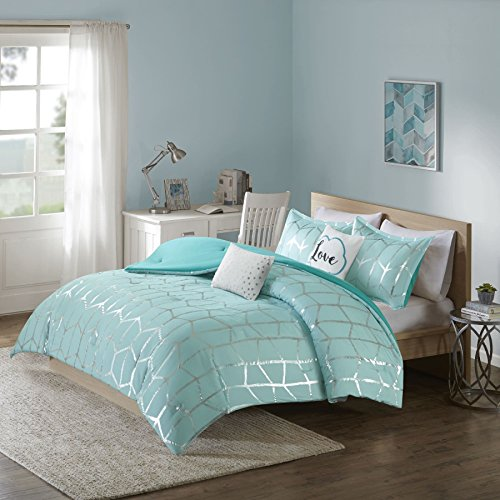 Silver Metallic Print (Teen Bedding for Girls Comforter Set Full Queen King Twin Aqua Blue Silver Metallic Print Dorm Room Bedspread Bundle Includes Bonus Sleep Mask from Designer Home (Full/Queen))