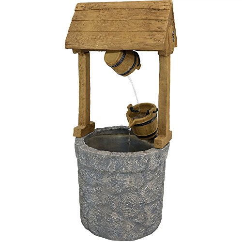Country Wishing Well - Sunnydaze Outdoor American Wishing Well Water Fountain, 49 Inch Tall