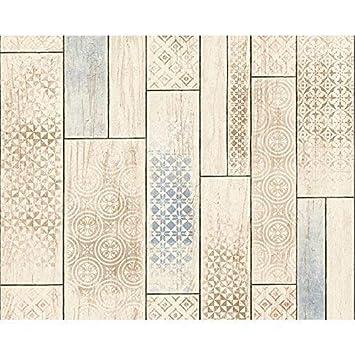 As Creation Holzplatte Muster Tapete Kuche Badezimmer Stammes Motiv