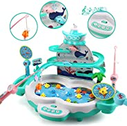 CUTE STONE Fishing Game Toys with Slideway,Electronic Toy Fishing Set with Magnetic Pond,10 Fish,3 Magnetic Do