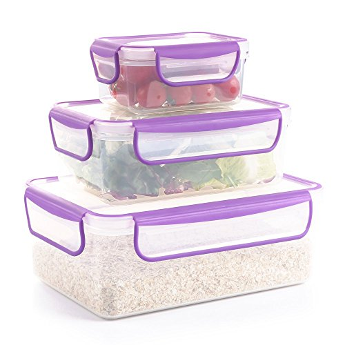 COZZINE Food Storage Containers, Airtight Leak Proof Lock Durable Plastic Microwaveable Bento Box Dishwasher and Freezer Food-Safe, BPA Free (Purple, ()