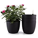 T4U 6″ Plastic Self Watering Planter with Water Level Indicator Black Set of 4, Modern Decorative Planter Pot for All House Plants, Flowers, Herbs, African Violets, Succulents Review