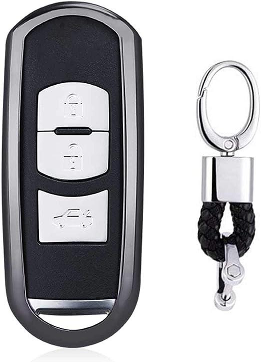 Imagen deNegro Funda de TPU Suave para Llave + Llavero para Coche Mazda 3 5 6 CX-3 CX-5 CX-7 CX-9 MX-5 Miata 3/4 Buttons